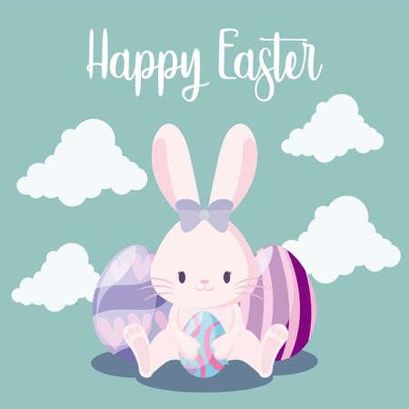 cute rabbit female with eggs of easter vector illustration design Çizim