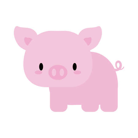 cute pig baby  , flat style icon vector illustration design Stock Illustratie
