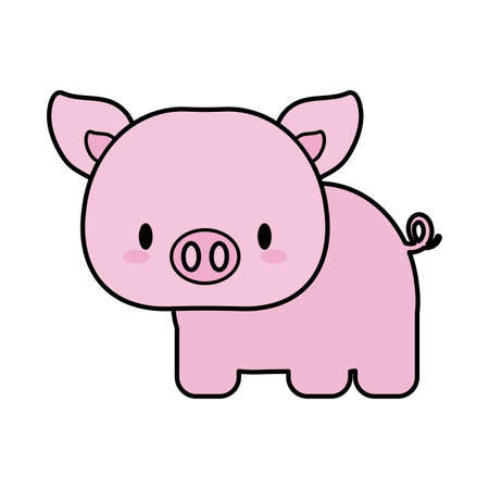 cute pig baby, line and fill style icon vector illustration design