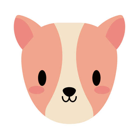 head of cute guinea pig kawaii, flat style icon vector illustration design