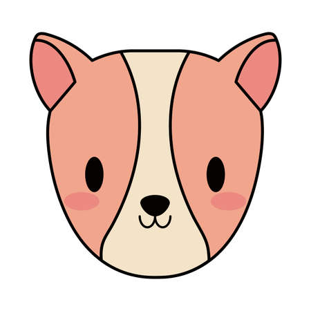 head of cute guinea pig, line and fill style icon vector illustration design