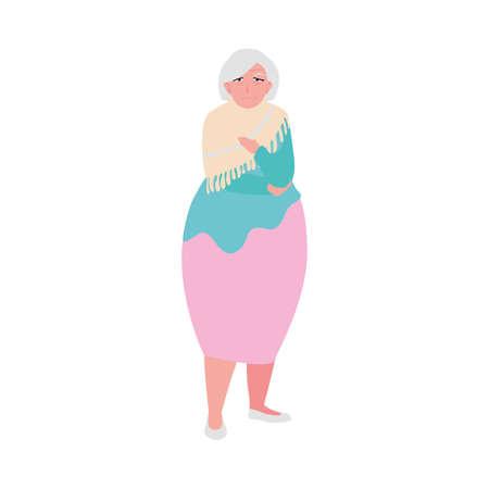 happy elderly woman wearing clothes vector illustration design Illustration