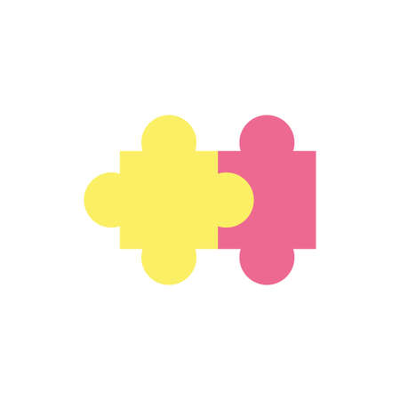 Puzzle icon design, Jigsaw game object teamwork match toy element connection and solution theme Vector illustration