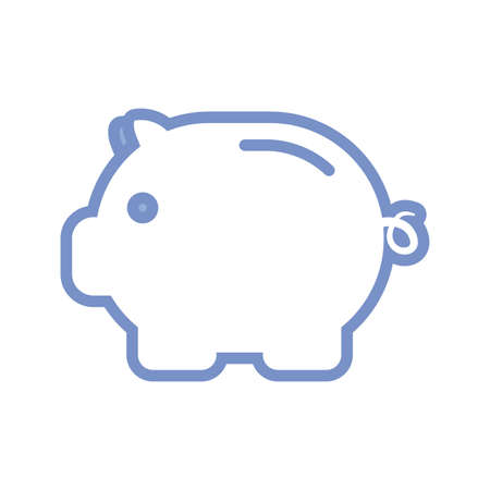 piggy bank icon over white background, blue outline style, vector illustration Vectores