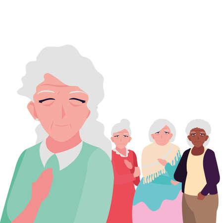 happy elderly women sharing at home vector illustration design