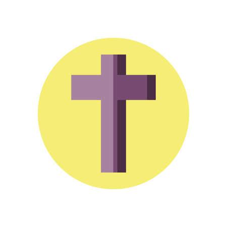 catholic cross icon over white background, block style icon, vector illustration  イラスト・ベクター素材