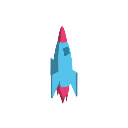 Rocket icon of Space futuristic cosmos outside universe galaxy astronomy adventure and exploration theme Vector illustration
