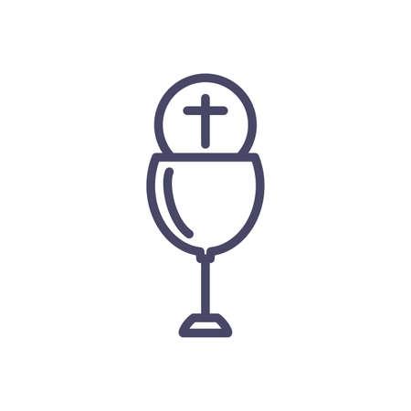 catholic communion wine glass over white background, line style, vector illustration