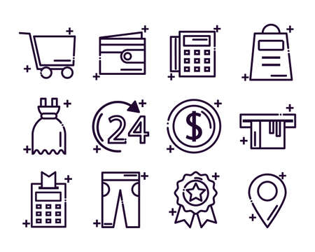 set of icons shopping line style icon vector illustration design Vectores