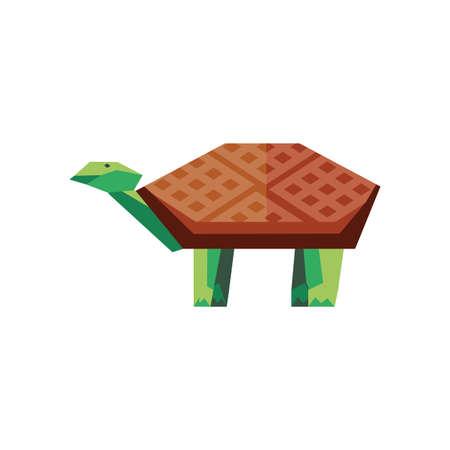 geometric turtle on white background vector illustration design