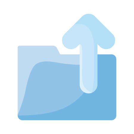 File with upload arrow flat style icon design, Document data archive storage organize business office and information theme Vector illustration