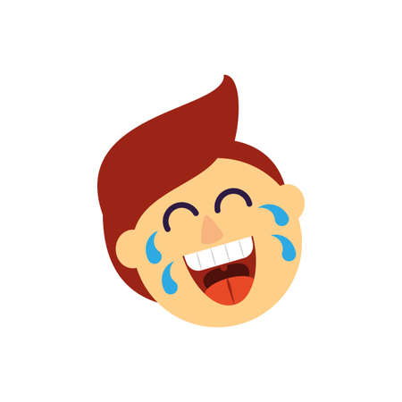 cartoon man laughing over white background, flat style icon, vector illustration Ilustração