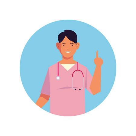 man doctor, medical staff on white background vector illustration design