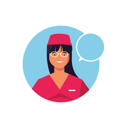 female doctor with speech bubble, medical staff on white background vector illustration design