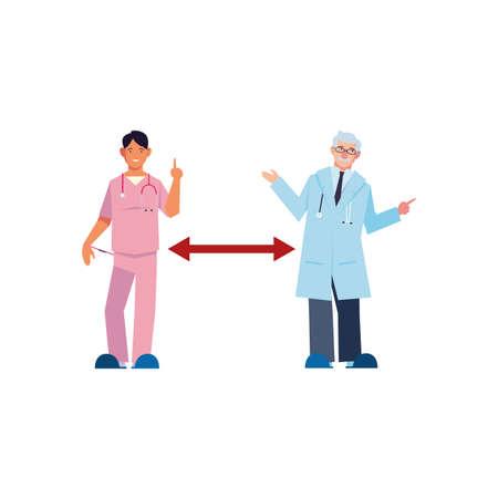 doctors keep distance on white background vector illustration design Ilustração