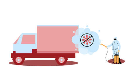 Man wearing protective suit and disinfectant isolated to avoid covid 19, disinfect truck vector illustration design