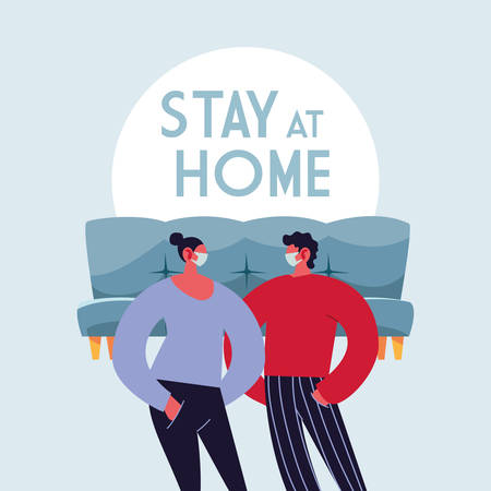 couple with masks at home vector ilustration designe