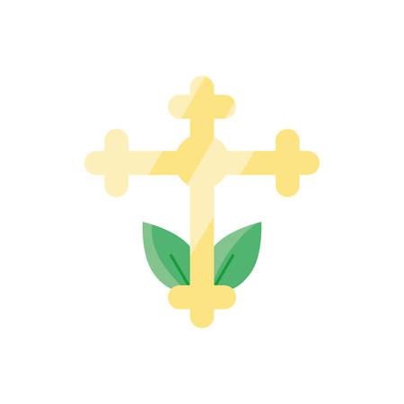 catholic cross over white background, flat style icon, vector illustration