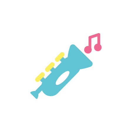 trumpet toy and music note design of Childhood play fun kid game gift object little and present theme Vector illustration Çizim