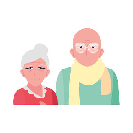 adorable old couple sharing at home vector illustration design Illustration