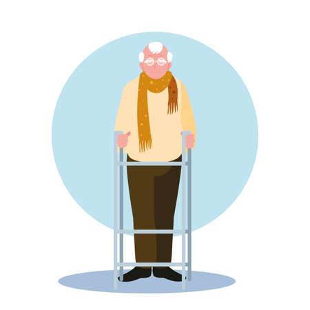 elderly man takes care of himself at home vector illustration design Illustration