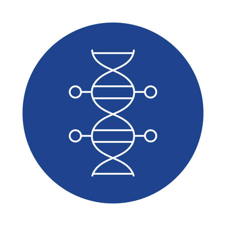 dna molecule , line block style icon vector illustration design