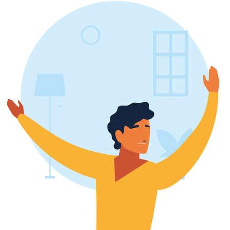 man doing dance exercises at home vector illustration design