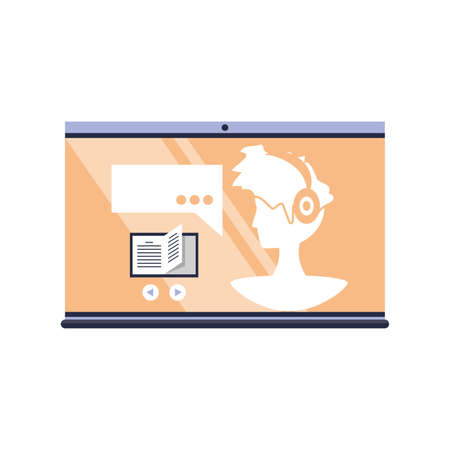 man on laptop screen, online learning, conference and consultation vector illustration design Vectores