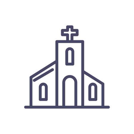catholic church over white background, line style icon, vector illustration  イラスト・ベクター素材