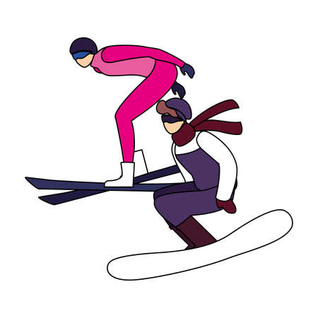 men practicing sport extreme winter on white background vector illustration design Vectores