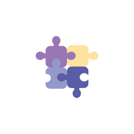 Puzzles design, Jigsaw game object teamwork match toy element connection and solution theme Vector illustration