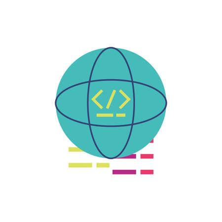 Website code inside global sphere design, Programming web designer technology internet media modern and development theme Vector illustration