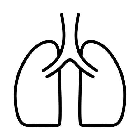 human lungs, human internal organ, respiratory system, line style icon vector illustration design
