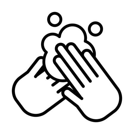 hands wash with soap, washing hands, line style icon vector illustration design  イラスト・ベクター素材