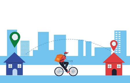 package delivery with door-to-door location vector illustration design