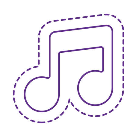 music note line style icon design, Cute patch expression emoticon and childhood theme Vector illustration