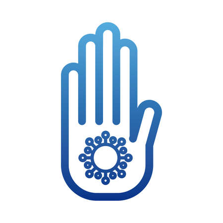 stop coronavirus, hand with dangerous cell covid 19, degraded line style icon vector illustration design