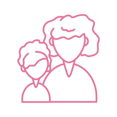 woman with daughter, line style icon vector illustration design