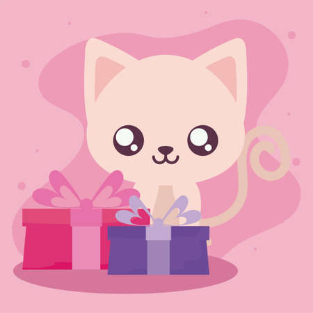 Cute cat cartoon with gifts design, Animal zoo life nature character childhood and adorable theme Vector illustration