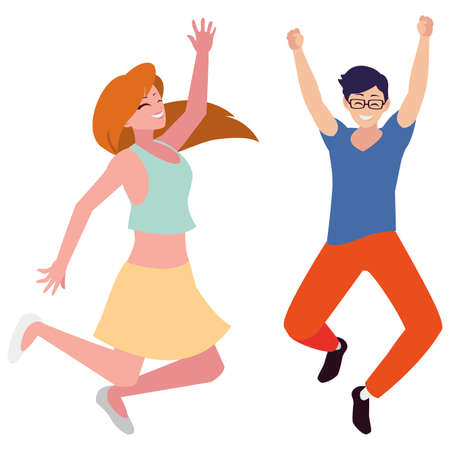 happy young couple celebrating characters vector illustration design Çizim
