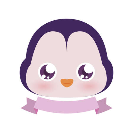 Cute penguin cartoon with ribbon design, Animal zoo life nature character childhood and adorable theme Vector illustration