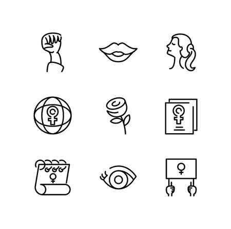 womens and female gender icons set over white background, line style icon, vector illustration