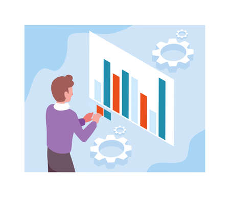 man with graphs in front, business working processes vector illustration design Vectores
