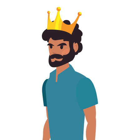 dad wearing crown happy fathers day vector illustration Vettoriali