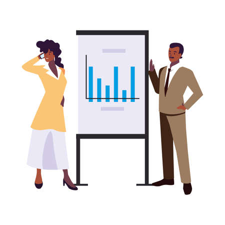 couple of people of business with graphs on white background vector illustration design Vectores