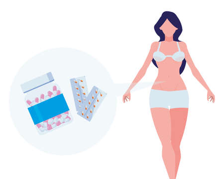 thin woman with medical icons vector illustration design