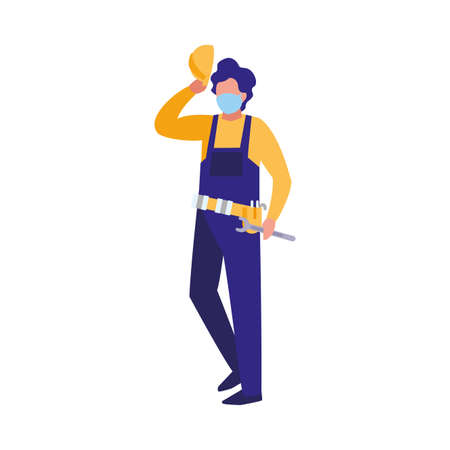 industrial worker man working with face mask vector illustration design 일러스트