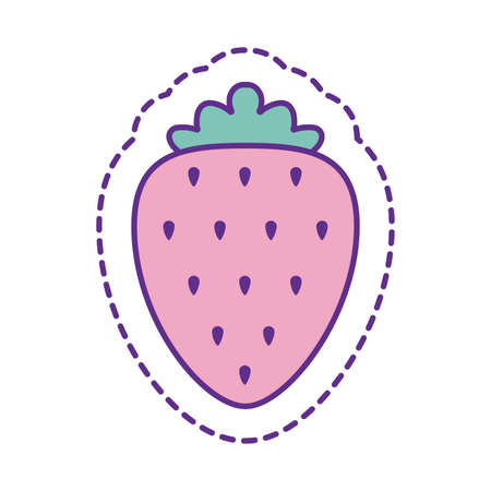 strawberry line and fill style icon design, Cute patch expression emoticon and childhood theme Vector illustration Vettoriali