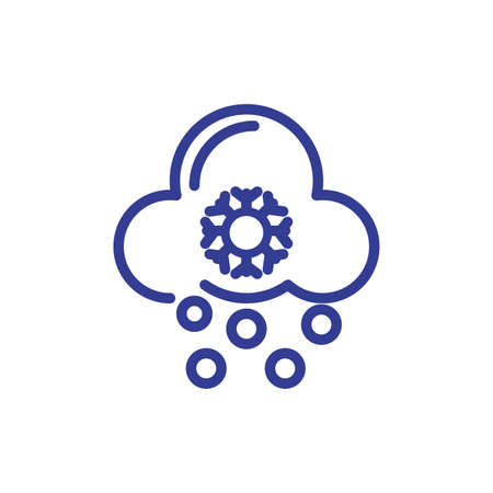 snowy cloud icon over white background, line style, vector illustration Vectores