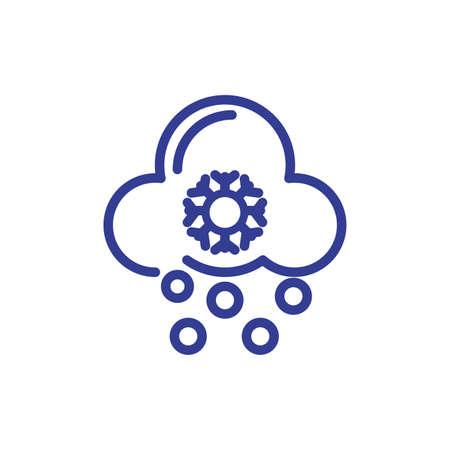 snowy cloud icon over white background, line style, vector illustration Foto de archivo - 149580508
